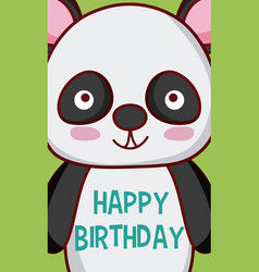panda bear happy birthday card vector image
