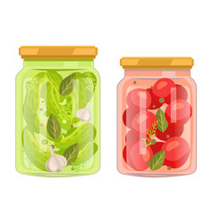 Pickles and canned tomatoes with bay leaf bottles vector