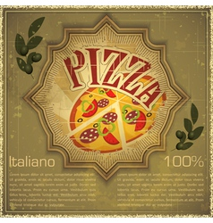 Pizza on grunge Background vector image