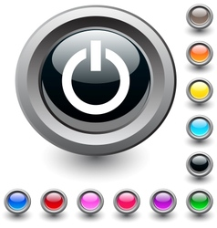 Power round button vector image
