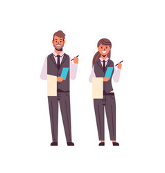 Professional waiters couple making notes man woman vector