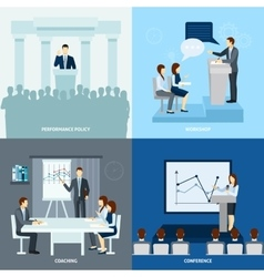 Publicly speaking people 4 flat icons square vector