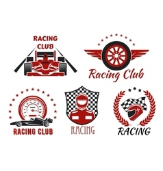 Racing club motorsport competition icons design vector image