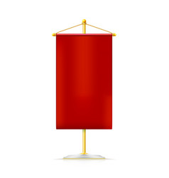 realistic red pennon hanging on yellow stand icon vector image