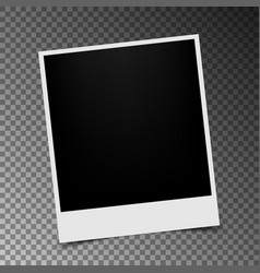 retro photo frame with shadow on transparent vector image