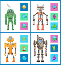 robot set images collection vector image