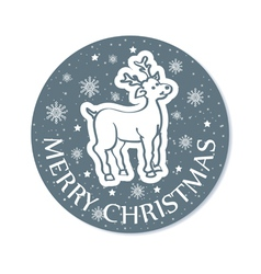 Round cristmas greeting with deer grey vector