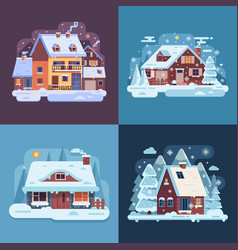 rural winter houses and cabins landscapes vector image