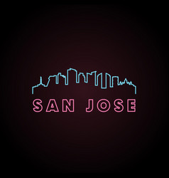 san jose skyline neon style in editable file vector image