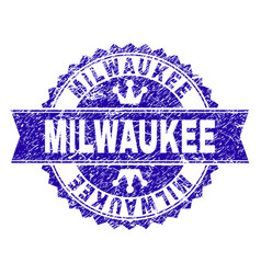 Scratched textured milwaukee stamp seal with vector