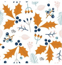 seamless winter floral pattern creative holiday vector image