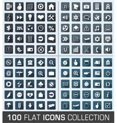 Set of 100 universal flat modern icons vector image
