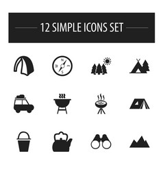 set of 12 editable camping icons includes symbols vector image