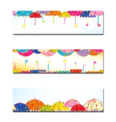 Set of Colorful Umbrella Autumn Rain Banner vector