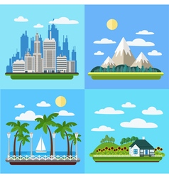 Set of Landscapes - Megapolis Mountains Seaside vector image