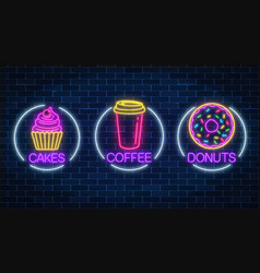 Set of three neon glowing signs of donut cakes vector