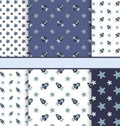 set seamless space patterns tiling - dark blu vector image
