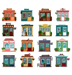 Shops or markets in exterior view vector
