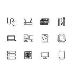 simple set symbols computer hardware and vector image