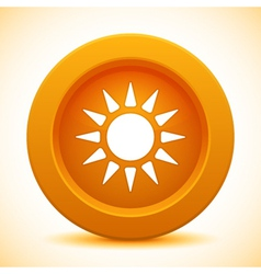 Sun orange button vector image