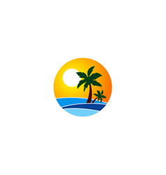 Sunset palm beach holiday logo vector