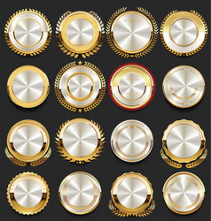 Super glossy collection of silver retro vintage vector