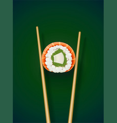 sushi rolls with chopstick vector image
