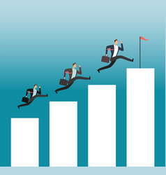 team reaching goal successful people running on vector image