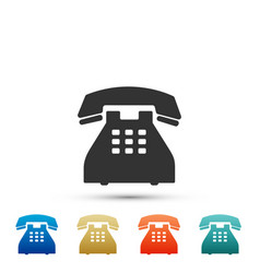 telephone icon on white background landline phone vector image