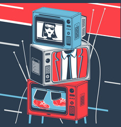 Tv and television broadcast vector