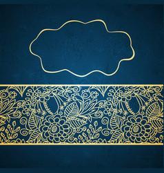 vintage card on blue background vector image