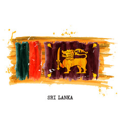 watercolor painting flag sri lanka vector image