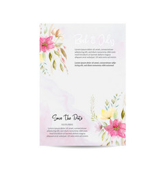 Wedding invitation and menu template water color v vector