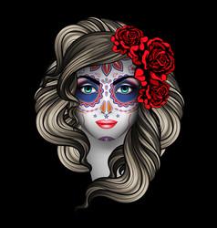 woman with calavera makeup day dead vector image