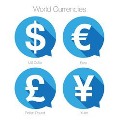 world currencies sign symbol set vector image