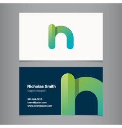 business card letter n vector image