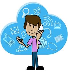 Cartoon man with a smartphone vector image vector image