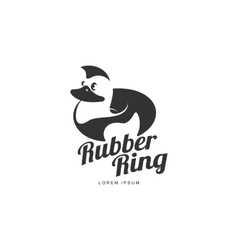 Logo template with graphic rubber duck swimming vector image