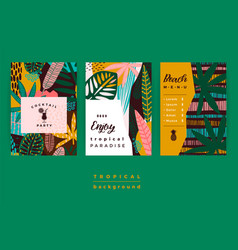 set of abstract creative templates with tropical vector image