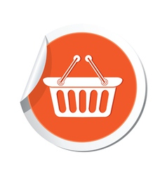 shop basket icon orange sticker vector image vector image