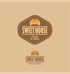 sweet house logo croissant brown sign vector image