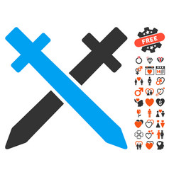 crossing swords icon with dating bonus vector image vector image