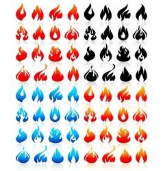 Fire flames big set icons vector image