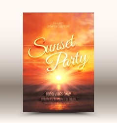 Flayer design template sunset party vector