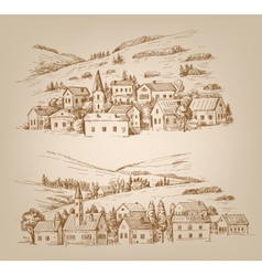 hand drawn village vector image