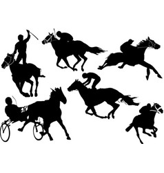 horse racing silhouettes colored for designers vector image vector image