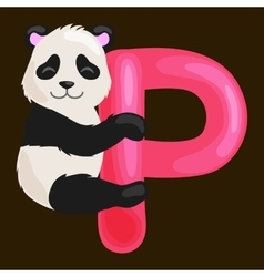 letter P with animal panda for kids abc education vector image