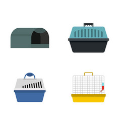 pet box icon set flat style vector image
