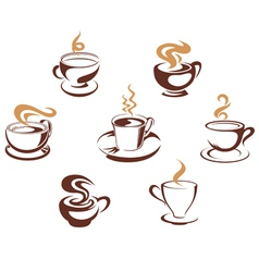 Coffee and tea cups vector image vector image