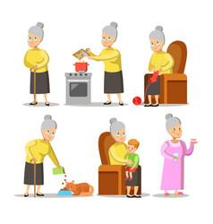 happy grandmother with grandson cartoon vector image